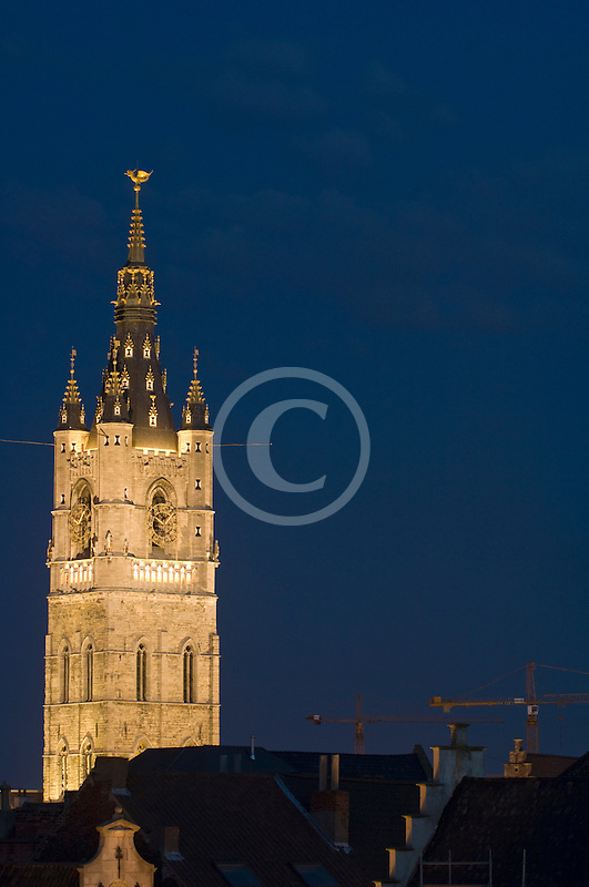 Belgium, Ghent, Belfry at night