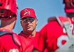 6 March 2016: St. Louis Cardinals Manager Mike Matheny chats with his catchers prior to a Spring Training pre-season game against the Washington Nationals at Roger Dean Stadium in Jupiter, Florida. The Nationals defeated the Cardinals 5-2 in Grapefruit League play. Mandatory Credit: Ed Wolfstein Photo *** RAW (NEF) Image File Available ***