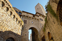 Medieval Tower around entrance - San Gimignano - Italy