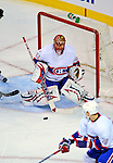 15 November 2008:  Montreal Canadiens' goaltender Jaroslav Halak from Slovakia makes a save against the Philadelphia Flyers in the first period at the Bell Centre in Montreal, Quebec, Canada.  The Canadiens, celebrating their 100th season, fell to the visiting Flyers 2-1. ***Editorial Sales Only***..Mandatory Photo Credit: Ed Wolfstein Photo *** Editorial Sales through Icon Sports Media *** www.iconsportsmedia.com