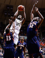 WEST LAFAYETTE, IN - JANUARY 02: Rapheal Davis #35 of the Purdue Boilermakers shoots the ball as Tracy Abrams #13 of the Illinois Fighting Illini and Nnanna Egwu #32 of the Illinois Fighting Illini defend at Mackey Arena on January 2, 2013 in West Lafayette, Indiana. (Photo by Michael Hickey/Getty Images) *** Local Caption *** Rapheal Davis; Tracy Abrams; Nnanna Egwu