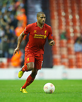 LIVERPOOL, ENGLAND - Thursday, October 4, 2012: Liverpool's Glen Johnson in action against Udinese Calcio during the UEFA Europa League Group A match at Anfield. (Pic by David Rawcliffe/Propaganda)