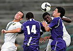 11 September 2009: University of Vermont Catamount forward D.J. Edler (17), a Freshman from Atlanta, GA, and midfielder/backfielder Rem Kielman, a Junior from Hinesburg, VT, jump for the ball against the University of Portland Pilots, in the first round of the 2009 Morgan Stanley Smith Barney Soccer Classic held at Centennial Field in Burlington, Vermont. The Catamounts and Pilots battled to a 1-1 double-overtime tie. Mandatory Photo Credit: Ed Wolfstein Photo