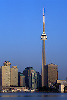 Toronto, Canada, Ontario, Lake Ontario, CN Tower and skyline of downtown Toronto from Toronto Inner Harbor on Lake Ontario.