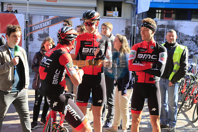 BMC Racing Team make their way to sign on before the start of Gent-Wevelgem in Flanders Fields 2017, running 249km from Denieze to Wevelgem, Flanders, Belgium. 26th March 2017.<br /> Picture: Eoin Clarke | Cyclefile<br /> <br /> <br /> All photos usage must carry mandatory copyright credit (&copy; Cyclefile | Eoin Clarke)