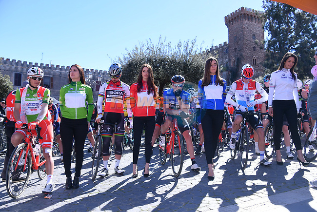 The leaders jerseys lined up for the start of Stage 4 of the 2017 Tirreno Adriatico running 187km from Montalto di Castro to Terminillo, Italy. 11th March 2017.<br /> Picture: La Presse/Gian Mattia D'Alberto | Cyclefile<br /> <br /> <br /> All photos usage must carry mandatory copyright credit (&copy; Cyclefile | La Presse)