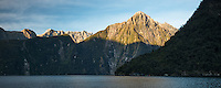 Morning in Milford Sound with underwater observatory and Mitre Peak, Fiordland National Park, Southland, UNESCO World Heritage Area, New Zealand, NZ