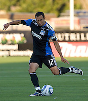 Ramiro Corrales of Earthquakes in action during the game against the Timbers at Buck Shaw Stadium in Santa Clara, California on August 6th, 2011.   San Jose Earthquakes and Portland Timbers tied 1-1.