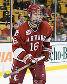 Alex Fallstrom (Harvard - 16) - The Harvard University Crimson defeated the Boston University Terriers 5-4 in the 2011 Beanpot consolation game on Monday, February 14, 2011, at TD Garden in Boston, Massachusetts.