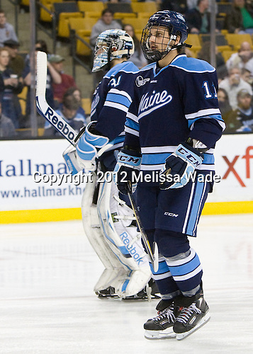 Theo Andersson (Maine - 11) - The Boston College Eagles defeated the University of Maine Black Bears 4-1 to win the 2012 Hockey East championship on Saturday, March 17, 2012, at TD Garden in Boston, Massachusetts.