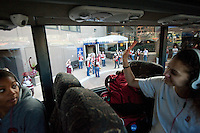 NORFOLK, VA--Freshman Erica Payne waves to the band as the team bus departs the Sheraton Hotel before taking on West Virginia at the Ted Constant Convocation Center at Old Dominion University for the second round of the 2012 NCAA Championships.