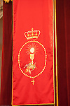 Eucharistic symbols on a banner, San Martin church, Carrion de los Cespedes, Seville, Spain
