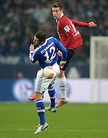 FUSSBALL   1. BUNDESLIGA   SAISON 2012/2013    18. SPIELTAG FC Schalke 04 - Hannover 96                           18.01.2013 Marco Hoeger (li, FC Schalke 04) gegen Artur Sobiech (re, Hannover 96)