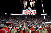Ohio State Buckeyes student section sing Carmen Ohio after the Buckeyes beat Northwestern 24-20 during their game at Ohio Stadium in Columbus, Ohio on October 29, 2016.  (Kyle Robertson / The Columbus Dispatch)