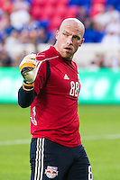 New York Red Bulls goalkeeper Bill Gaudette (88) during warmups prior to playing the Portland Timbers. The New York Red Bulls defeated the Houston Dynamo 2-0 during a Major League Soccer (MLS) match at Red Bull Arena in Harrison, NJ, on August 10, 2012.