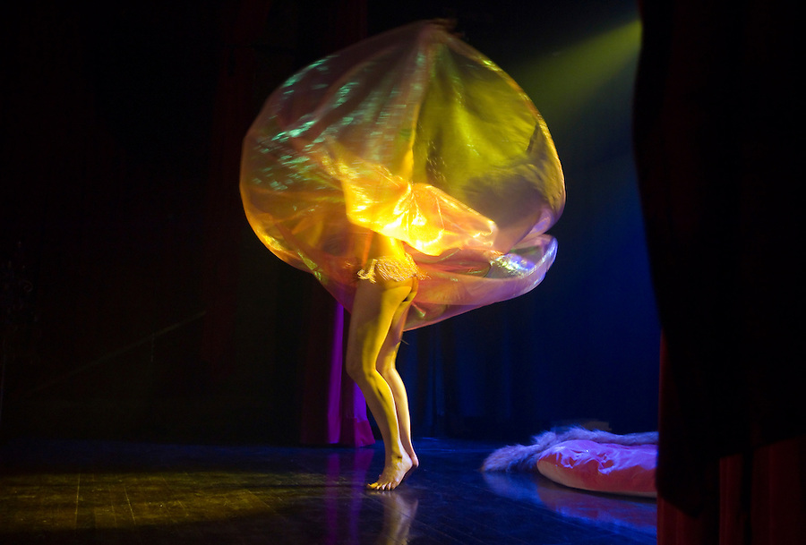"""Charlotte Treuse dances in an act called """"elf Quest"""" at Geekleseque Sallies Fourth at the Star Theater in Portland."""