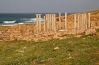 Apollonia, Shahaat, Libya -- Byzantine Central Church, Mediterranean in Background