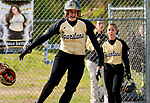 WATERBURY,  CT-051117JS17- WCA's Micahlyn Vaichus (16) celebrates after hitting a three-RBI home run during their game against Crosby Thursday at Huntingdon Park in Waterbury. <br />  Jim Shannon Republican-American