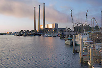 Morro Bay Power Plant owned by Dynegy, California. The current plant was built in the 1950s, and Dynegy wishes to modernize it with a new combined cycle plant. The Environmental Protection Agency has recently granted Dynegy an air permit for the modernization project. The company will be replacing four existing fossil fuel fired electric utility steam generators with two combined cycle natural gas fired turbine generators. The three existing 450 foot exhaust stacks will be replaced with two 145 foot stacks  (wiki 2009)