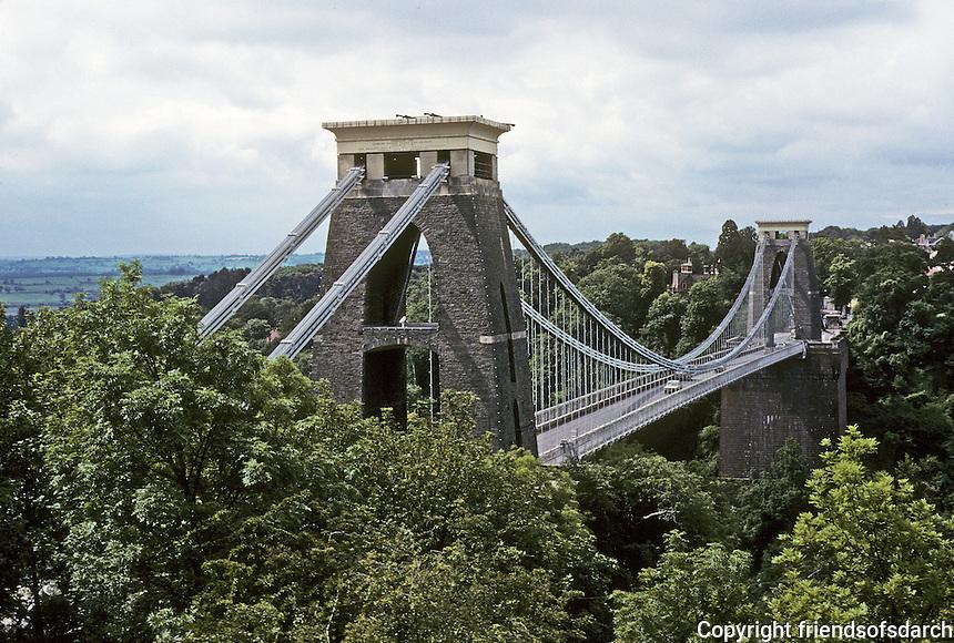 Technology: Bristol--Clifton Suspension Bridge, 1829-1854.  Isambard Kingdom Brunel. Span--500 feet. Spanned Avon Gorge.