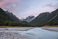 Matukituki River in Matukituki Valley at dusk, Mt. Aspiring National Park, Otago, South Island, New Zealand