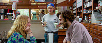 Leading actress Lucy Walters, with romantic lead John Behlmann, and actress Bekka Walker, in scene set at Hallets Store, Yarmouthport, MA. The feature film is set on Cape Cod, Lies I Told My Little Sister