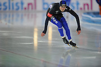 SCHAATSEN: AMSTERDAM: Olympisch Stadion, 28-02-2014, KPN NK Sprint/Allround, Coolste Baan van Nederland, Karsten van Zeijl, ©foto Martin de Jong
