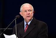 Washington, DC - May 13, 2017: U.S. Attorney General Jeff Sessions speaks at the candlelight vigil memorial service during Police Week, May 13, 2017.  (Photo by Don Baxter/Media Images International)