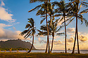 Kualoa Point and Mokoli'i Island from Waiahole Beach, Windward, Oahu, Hawaii.