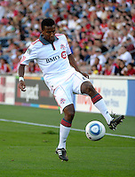 Toronto defender Danleigh Borman (25) controls the ball.  The Chicago Fire defeated Toronto FC 2-0 at Toyota Park in Bridgeview, IL on August 21, 2011.