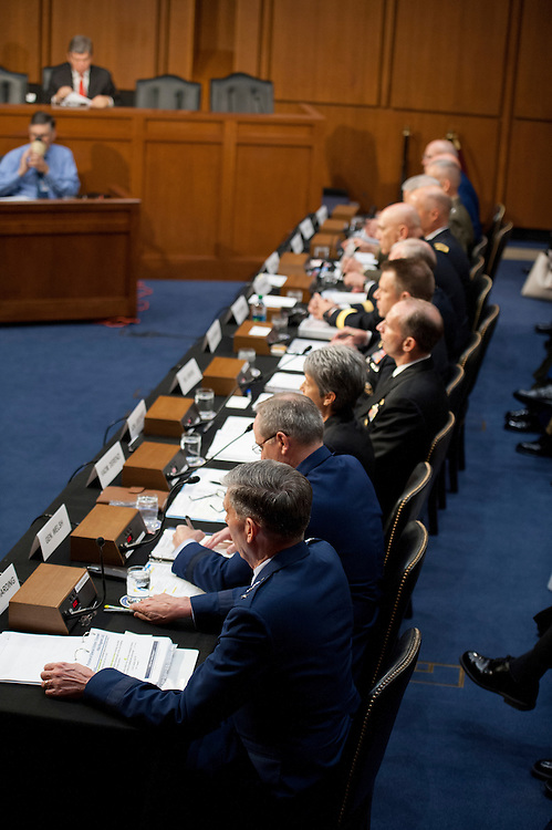 UNITED STATES - June 4:  U.S. military leaders, including all six members of the Joint Chiefs of Staff, testify before the Armed Services Committee hearing on pending legislation regarding sexual assaults in the military in the Senate Hart Office Building on June 4, 2013. (Photo By Douglas Graham/CQ Roll Call)