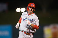 Cord Sandberg (32) of the Lakewood BlueClaws rounds the bases after hitting a game-tying home run with two outs in the top of the ninth inning against the Kannapolis Intimidators at Kannapolis Intimidators Stadium on April 8, 2017 in Kannapolis, North Carolina.  The BlueClaws defeated the Intimidators 8-4 in 10 innings.  (Brian Westerholt/Four Seam Images)