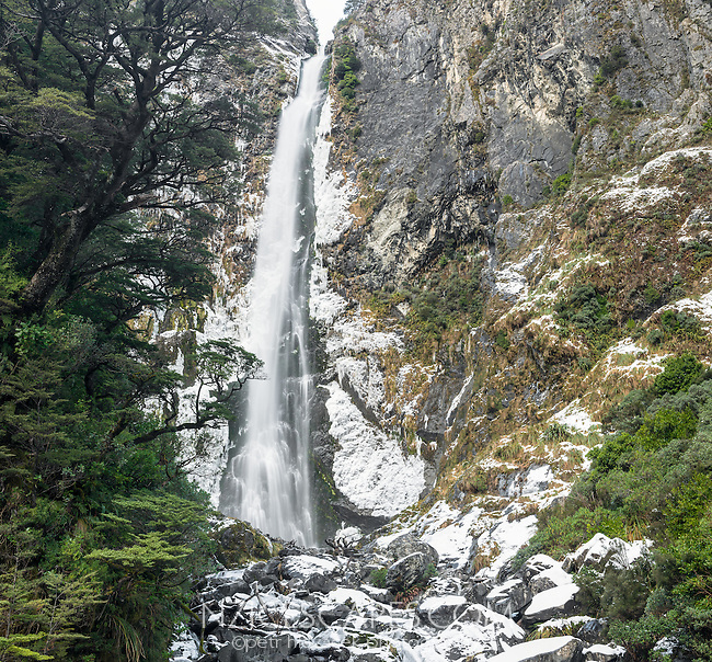 Devil's Punchbowl Falls in winter, Arthur's Pass National Park, Canterbury, South Island, New Zealand, NZ