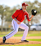 19 February 2011: Washington Nationals' pitcher Cla Meredith takes fielding drills during Spring Training at the Carl Barger Baseball Complex in Viera, Florida. Mandatory Credit: Ed Wolfstein Photo