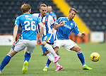 Kilmarnock v St Johnstone...19.09.15  SPFL Rugby Park, Kilmarnock<br /> Kallum Higginbothan and Chris Millar<br /> Picture by Graeme Hart.<br /> Copyright Perthshire Picture Agency<br /> Tel: 01738 623350  Mobile: 07990 594431