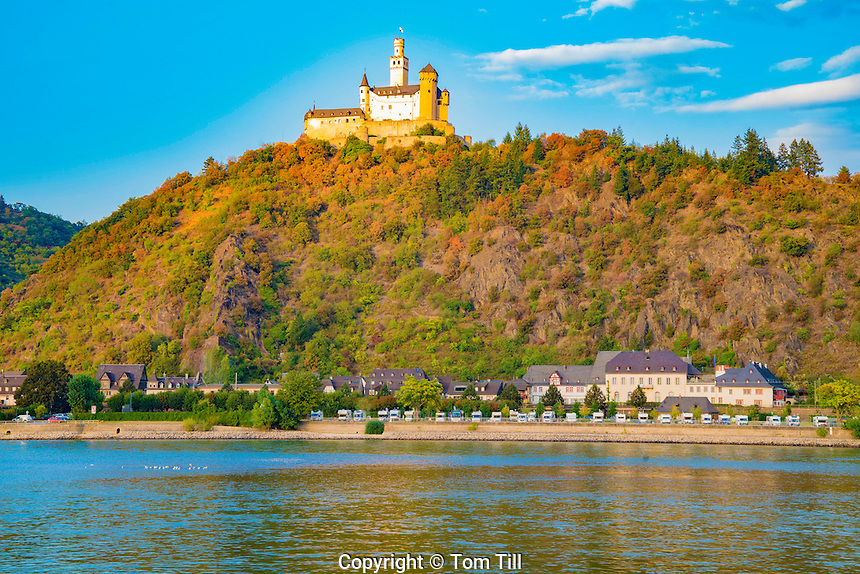 Marksburg Castle at dawn ,   Rhine River, Germany , Rhineland Region. 13th Century Castle Upper Middle Rhine Valley UNESCO World Heritage Site