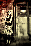 Young woman  in Alleyway with selective blur