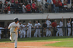 Mississippi's Kevin Mort drives in the winning run vs. LSU at Oxford-University Stadium on Sunday, April 25, 2010 in Oxford, Miss. Ole Miss won 7-6 to sweep the three game series
