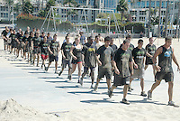 U.S. Navy Special Warfare Operator (SO) candidates train in formation at Santa Monica Beach on Wednesday, September 7, 2011.