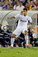 Cristiano Ronaldo of Real Madrid moves with the ball. Real Madrid beat the LA Galaxy 3-2 in an international friendly match at the Rose Bowl in Pasadena, California on Saturday evening August 7, 2010.