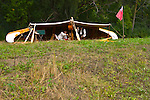 French Voyageurs canoe camp in the woods