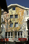 Mural painted on wall in the town of Imst. Imst district,Tyrol, Austria.