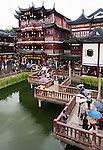 People at the town with traditional architecture, the Old City of Shanghai, China