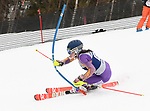FRANCONIA, NH - MARCH 10:   Hannah Hunsaker of Dartmouth competes during the Women's Slalom event at the Division I Men's and Women's Skiing Championships held at Cannon Mountain on March 10, 2017 in Franconia, New Hampshire. (Photo by Gil Talbot/NCAA Photos via Getty Images)