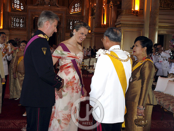 Crown Prince Philippe & Crown Princess Mathilde of Belgium & foreign monarchs express their best wishes to His Majesty at the Anda Samakhom Throne Hall during the celebrations to mark the 60th anniversary of Thai King Bhumibol Adulyadej's accession to the throne...Pool Picture supplied by UK Press Ltd
