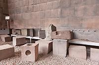 Detailed masonry work of the Inca empire, Lima, Peru, South America