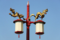 Two Chinese dragons decorating a lamppost, Chinatown, Vancouver, British Columbia, Canada
