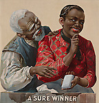 Vintage Illustration: TITLE:  &quot;A sure winner&quot; Tobacco advertising poster showing an African American couple, as the woman offers the man a cigar. African American man and woman in cigar advertisement 1890-1900.
