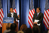 Chicago, IL - December 3, 2008 -- United States President-elect Barack Obama (L) stands with Secretary of Commerce designee and New Mexico Governor Bill Richardson as he answers questions from reporters at news conference in Chicago on December 3, 2008. .Credit: Brian Kersey - Pool via CNP