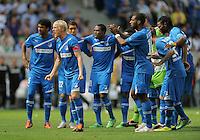 FUSSBALL   1. BUNDESLIGA  SAISON 2011/2012   2. Spieltag   13.08.2011 TSG 1899 Hoffenheim - Borussia Dortmund  TEAMJUBEL TSG 1899 Hoffenheim: Andreas Beck  (Mitte)
